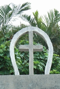 An enshrined cross atop a Christian tomb in Okinawa