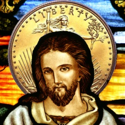 Stained glass image of Christ, superiposed on golden dollar as a halo